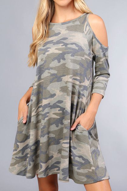 CAMOUFLAGE FRENCH TERRY COLD SHOULDE - orangeshine.com