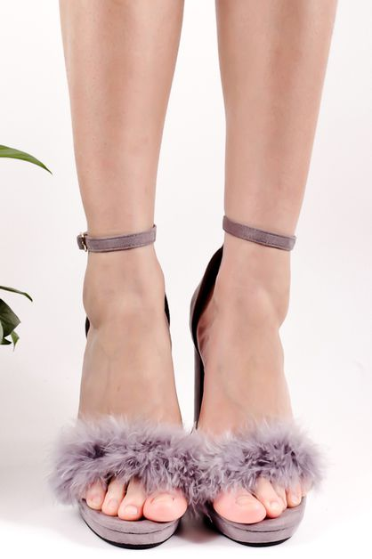 fur high heel chunky - orangeshine.com