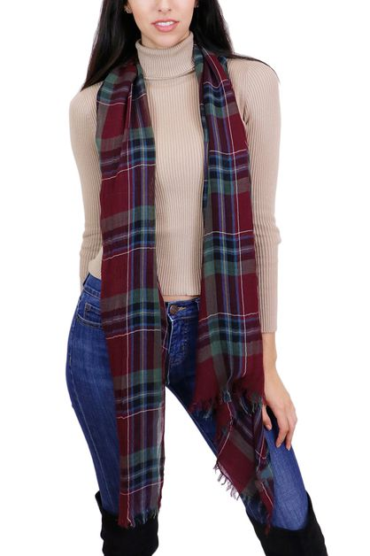 Plaid Fringe Fashion Oblong Scarf - orangeshine.com