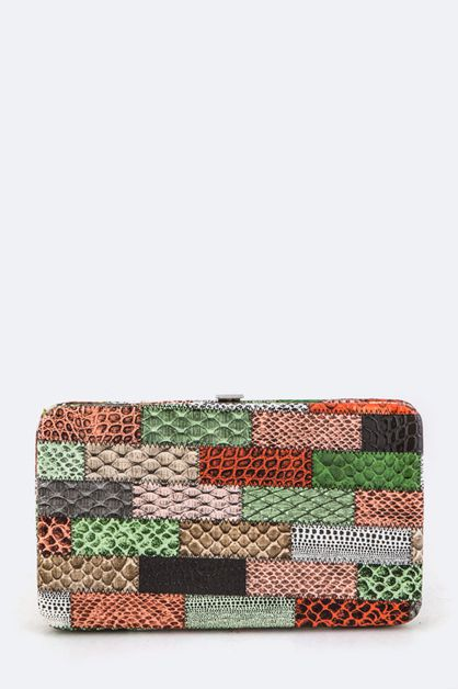 Snake Skin Stitches Photo Wallet - orangeshine.com