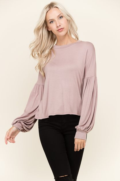 BALLOON SLEEVE JERSEY TOP - orangeshine.com