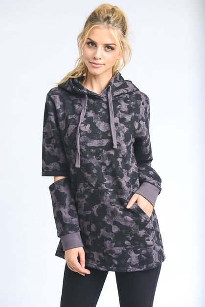 ELBOW-CUTOUT SLEEVE CAMO HOODIE TOP - orangeshine.com