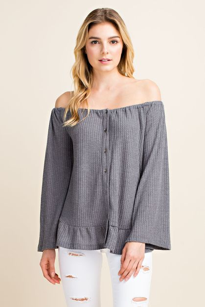 Off Shoulder Waffle Knit Button Down - orangeshine.com