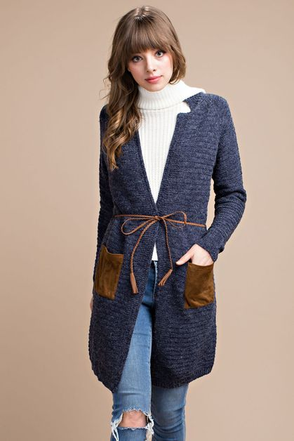 POCKET ACCENT LONGLINE CARDIGAN - orangeshine.com