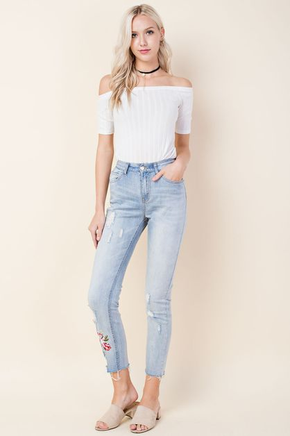 Floral Embroidered Ankle Jeans - orangeshine.com