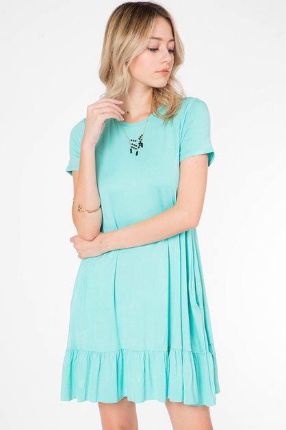 SOLID RUFFLE HEM SWING DRESS - orangeshine.com