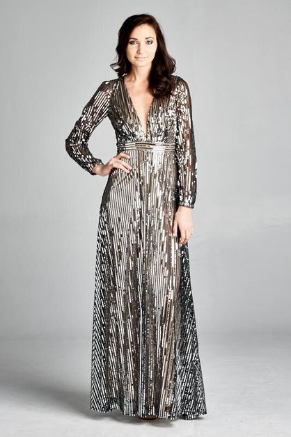 Long Sequin Dress - orangeshine.com
