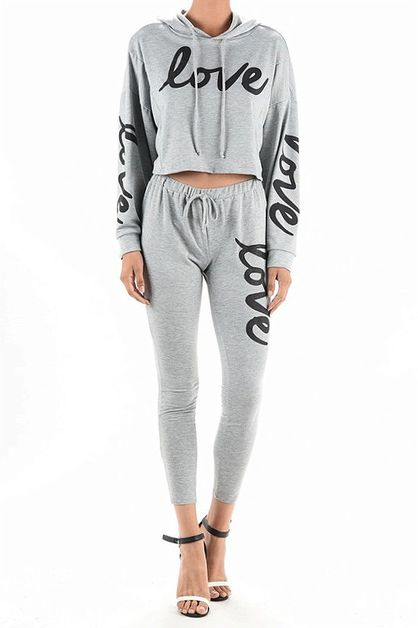 LOVE GRAPHIC CROP HOODIE LEGGING SET - orangeshine.com