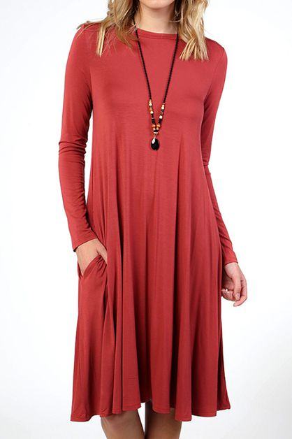 SOLID MODAL POCKET SWING DRESS - orangeshine.com