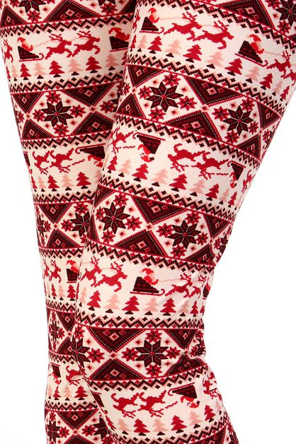 CHRISTMAS PRINT BRUSHED LEGGINGS - orangeshine.com