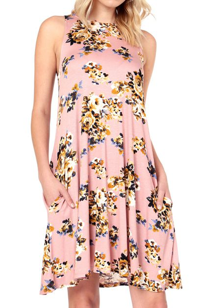 FLORAL PRINT SWING DRESS - orangeshine.com