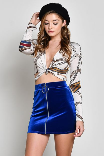 VELVET RING ZIPPER MINI SKIRT - orangeshine.com