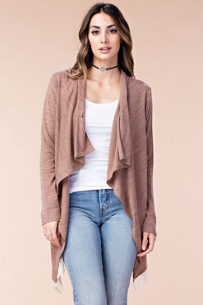 CLASSY DRAPED KNIT COVER UP - orangeshine.com