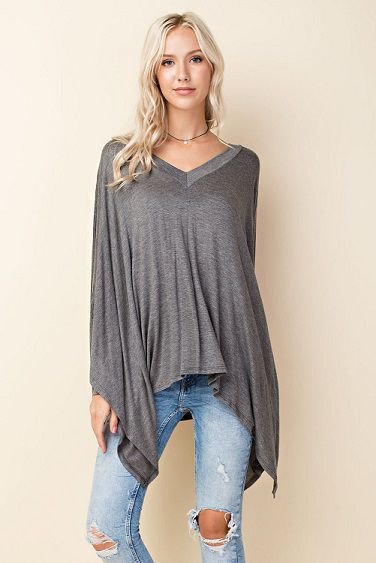 Oversized Dolman Sleeve V-Neck Tee - orangeshine.com
