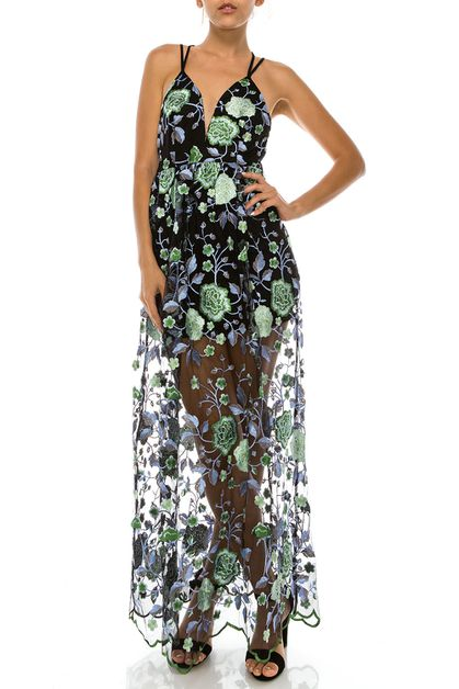 FLORAL EMBROIDERY LONG DRESS - orangeshine.com