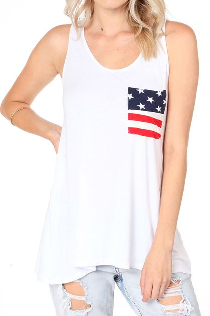 AMERICAN FLAG POCKET DETAIL TANK TOP - orangeshine.com