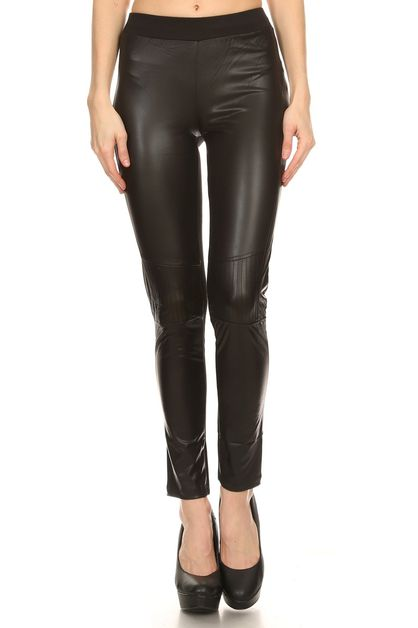 FAUX LEATHER FRONT LEGGINGS - orangeshine.com