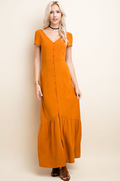 Romantic Button Front Maxi Dress - orangeshine.com