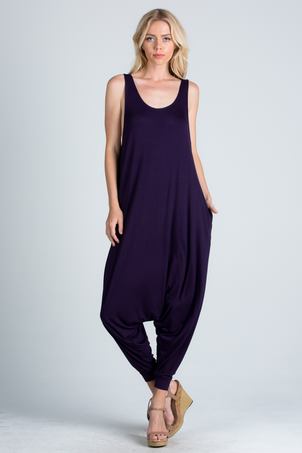 Sleeveless Jumpsuit with Pockets - orangeshine.com