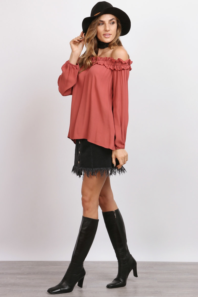 Tie Back Ruffled Off Shoulder Top - orangeshine.com