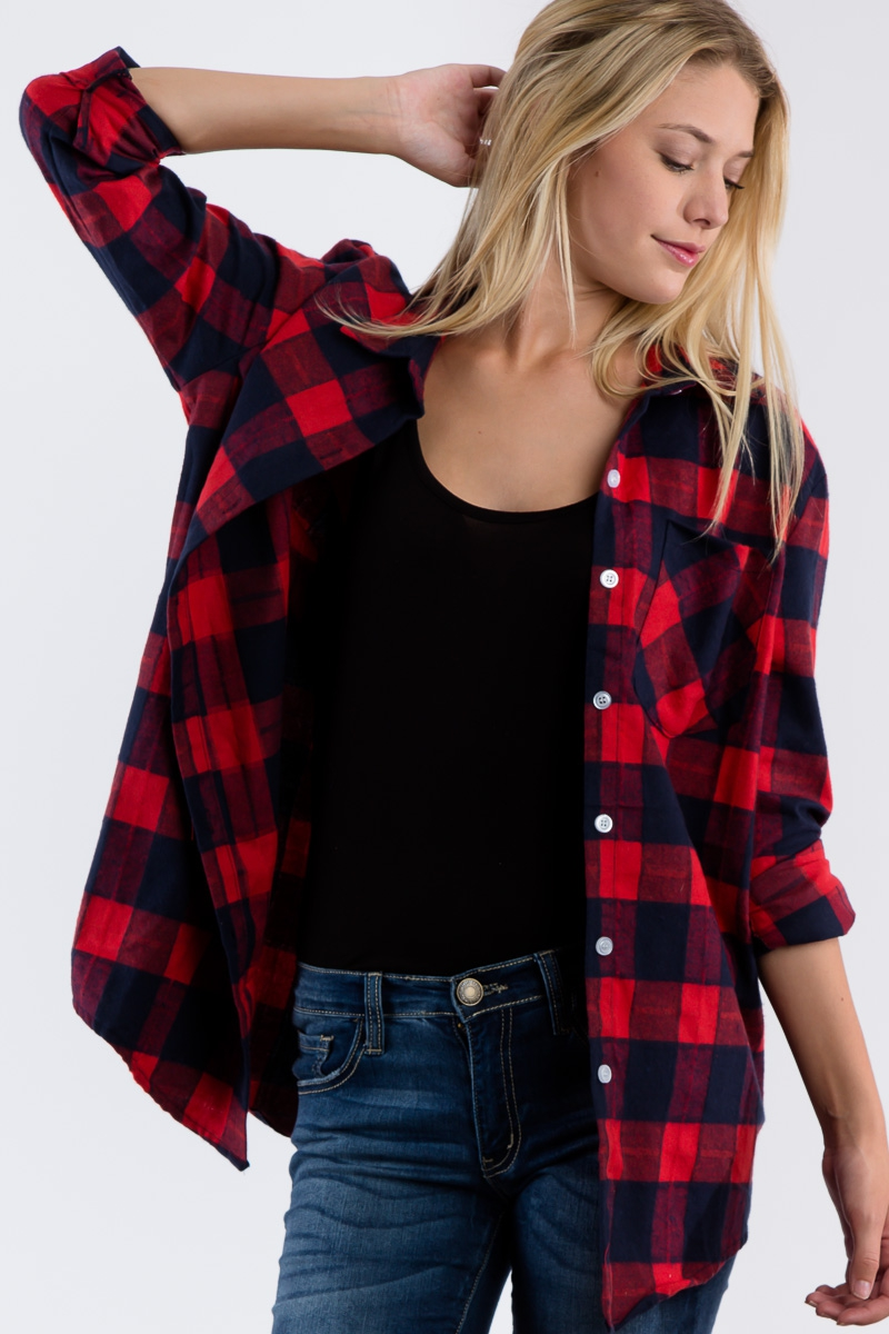 PLAID COLLARED LOOSE FIT SHIRT - orangeshine.com