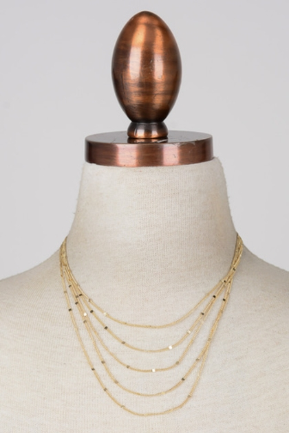 Geometric Pattern Layered Necklace - orangeshine.com