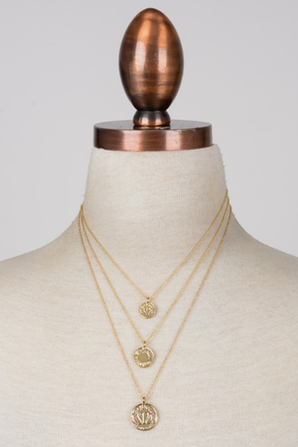 Embossed Coins Layered Necklace - orangeshine.com