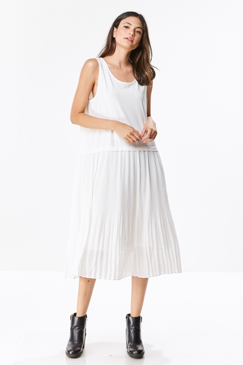 Pleated Bottom Dress With Lining - orangeshine.com