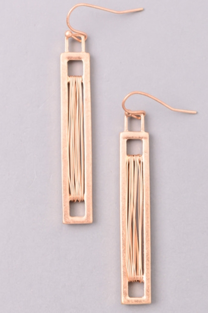 Metallic Wire Bar Dangle Earrings - orangeshine.com