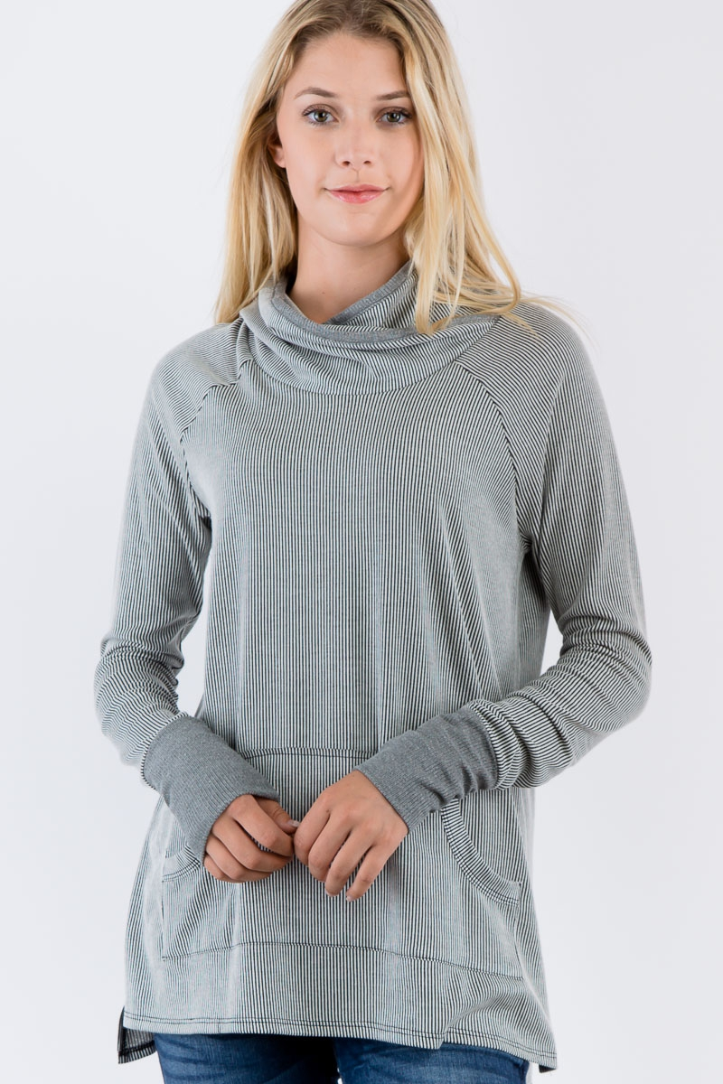 Cowl Neck Striped Long Sleeves Top - orangeshine.com