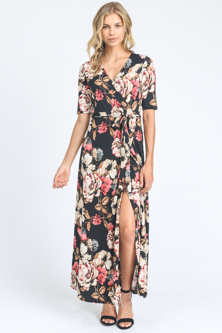 PREMIUM FLORAL FABRIC MAXI DRESS - orangeshine.com