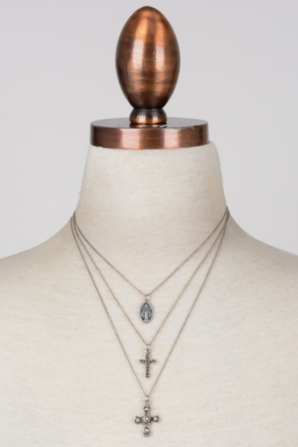 Etched Crosses Layered Necklace - orangeshine.com