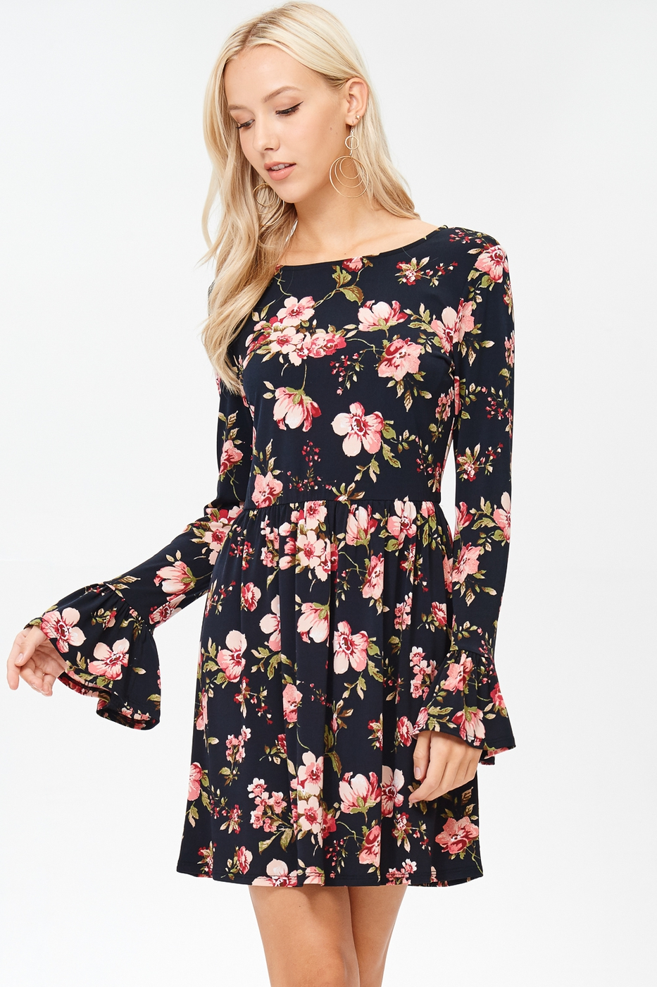 Long Sleeve Floral Print Dress - orangeshine.com