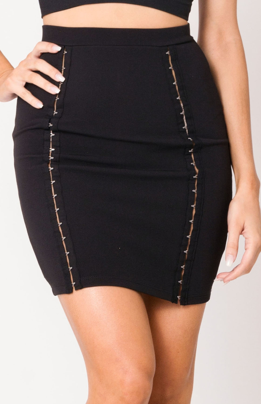 HOOK AND EYE HIGH WAIST MINI SKIRT - orangeshine.com