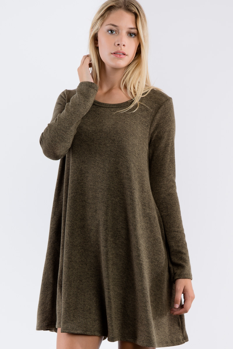 Knit Dress Long Sleeve Loose Dress - orangeshine.com