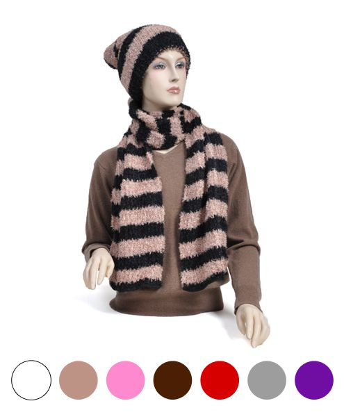 Womens Acrylic Scarf and Hat Set - orangeshine.com
