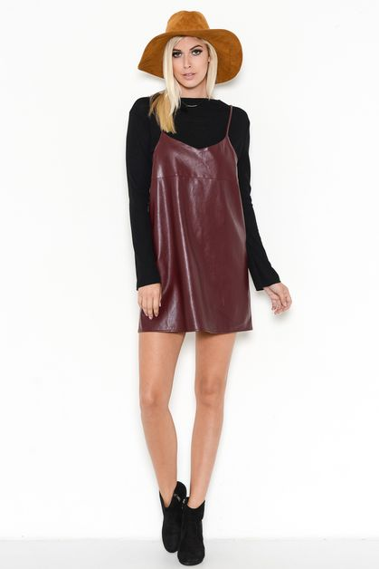 FAUX LEATHER MINI SHIRT DRESS - orangeshine.com