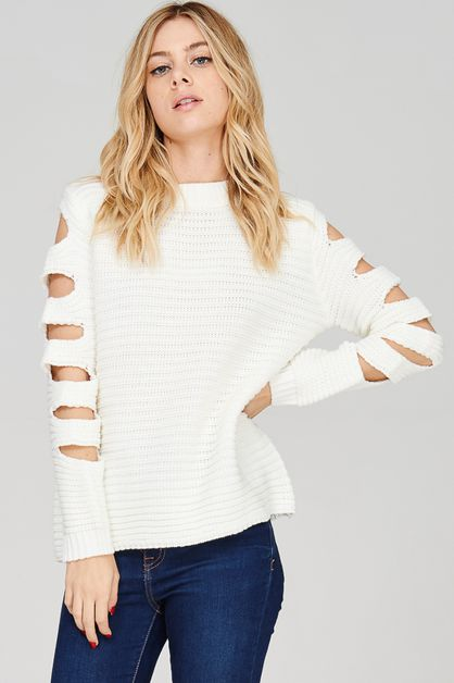 Cut Out Pullover Sweater - orangeshine.com
