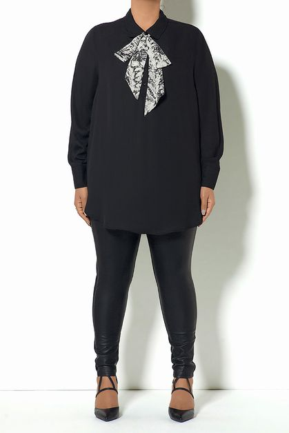 PLUS SIZE BLOUSE REMOVABLE TIE TOP - orangeshine.com