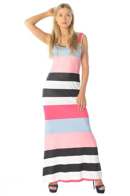 STRIPES MAXI DRESS - orangeshine.com