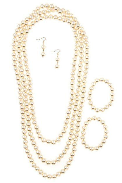 Faux Pearl Necklace Blacelet SET - orangeshine.com