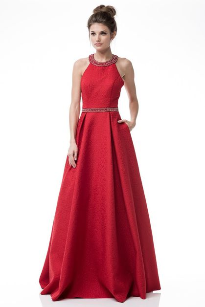 Halter Neck Sleeveless Evening Dress - orangeshine.com