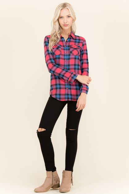 Plaid Flannel Shirt - orangeshine.com