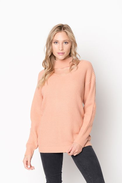 Keyhole Knit Lose Sweater - orangeshine.com