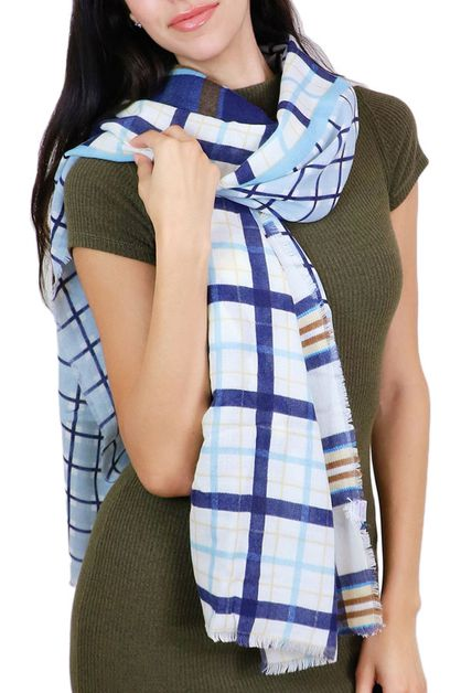 Multi Plaid Navy Oblong Scarf - orangeshine.com