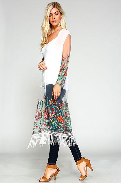 Floral Embroidered Duster  - orangeshine.com