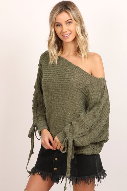 Lace Up Shoulder Detail Sweater - orangeshine.com