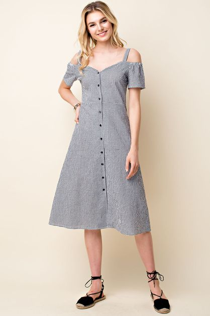 Gingham Button Front Midi Dress - orangeshine.com