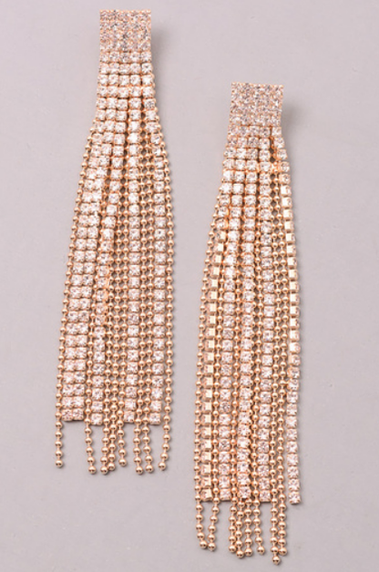 MIXED JEWEL CHAIN FRINGE EARRINGS - orangeshine.com