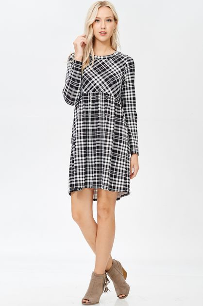 Plaid Long Sleeve Crochet Trim Dress - orangeshine.com